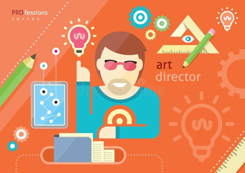 Creative people design occupations art direction. Creative people design occupations art director employment designer profession flat design cartoon style royalty free illustration