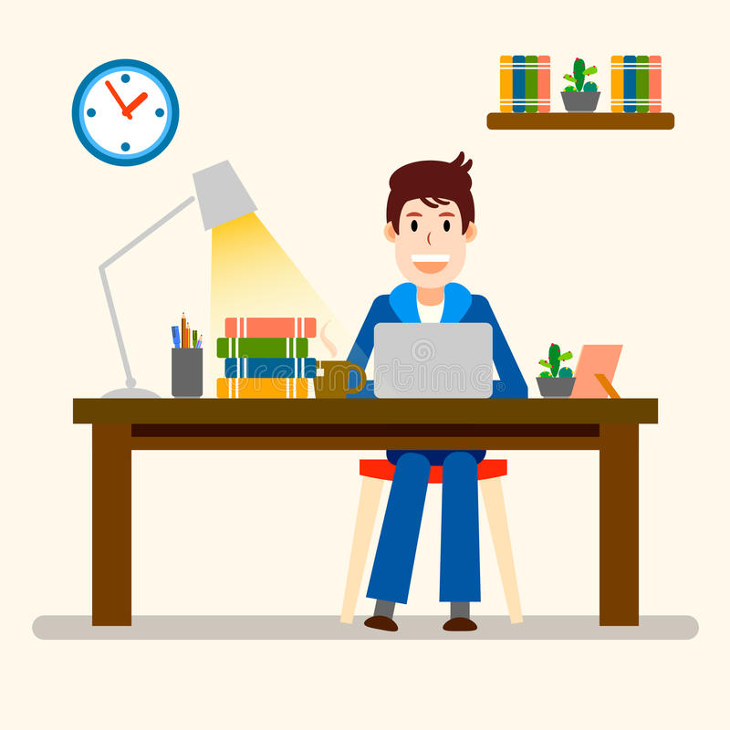 Creative people. Freelancer. Happy Working man. Vector illustration stock illustration