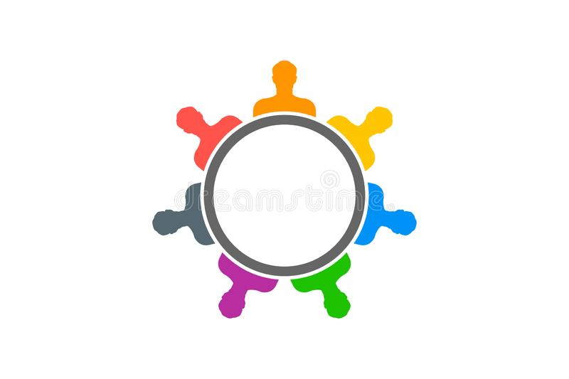 Creative People. Group of Seven Persons. Creative People. Group of Seven in a circle vector illustration