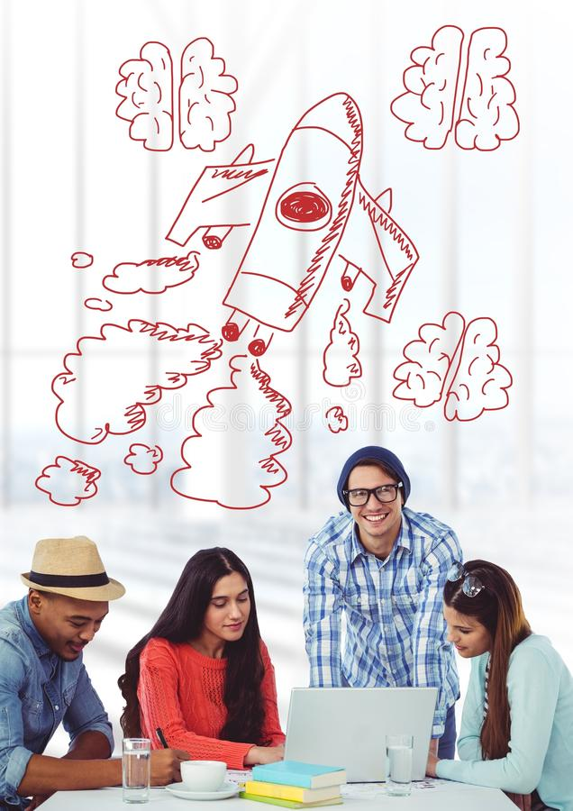 Creative people with hand-drawn rocket and brains stock images