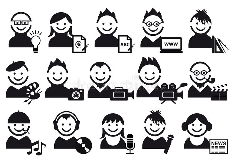 Creative people icons. Creative people and artist icons, set stock illustration