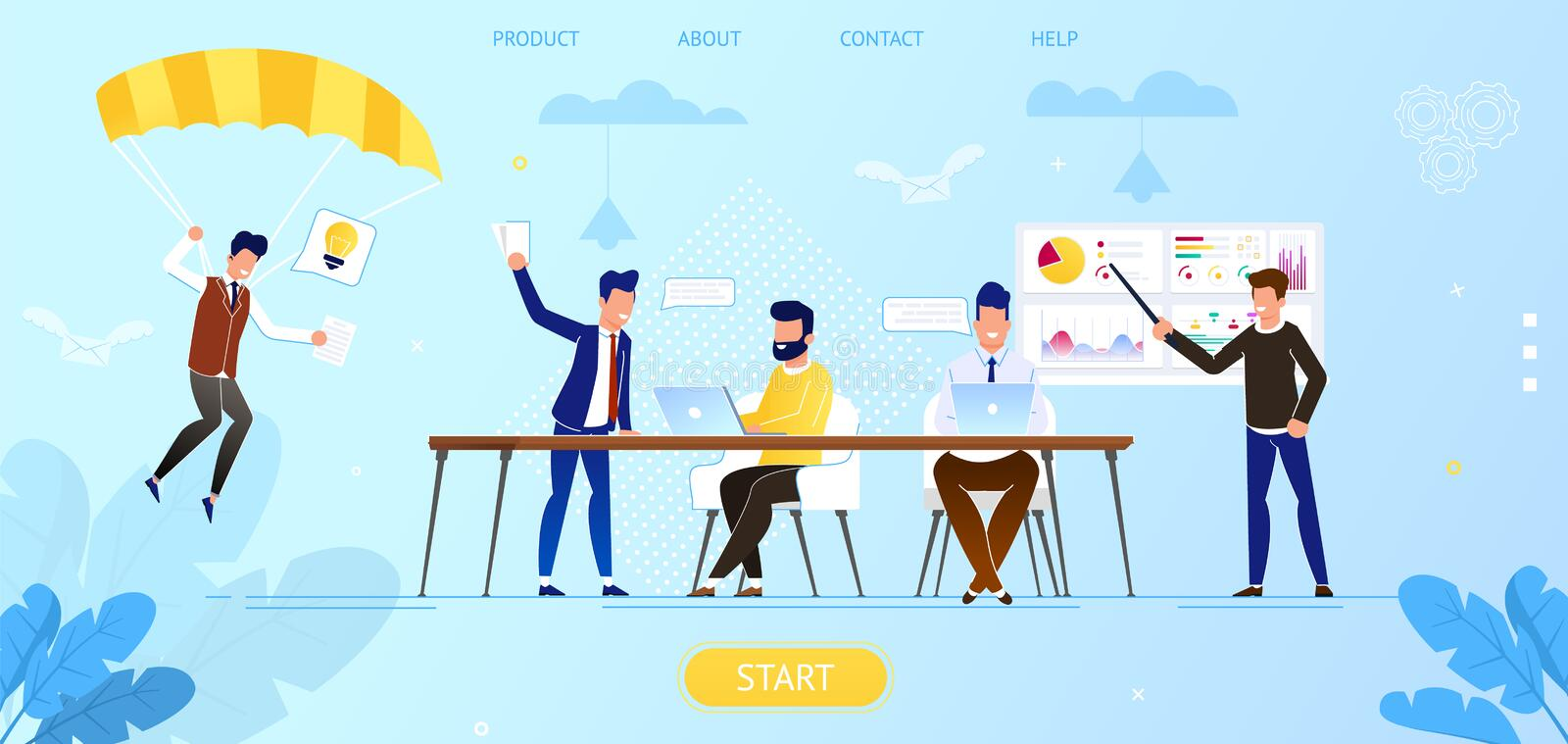 Creative People in Office Working Together. Idea. vector illustration