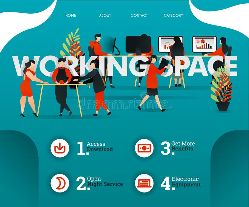 Creative people are sharing room at WORKING SPACE. people are developing business. can use for, landing page, web, mobile app, pos. Ter, flyer, vector royalty free illustration