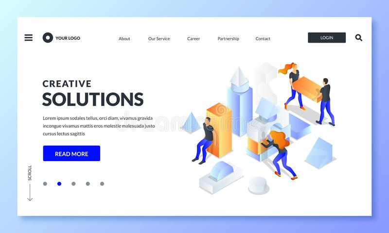 People build construction from multicolor cubes, business metaphor. Vector 3d isometric illustration. Teamwork concept. Creative people team build construction royalty free illustration