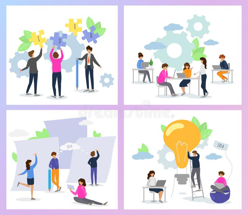Creative people vector man woman character working together at office illustration set of teamwork ideas brainstorming. Team creating project design on meeting vector illustration