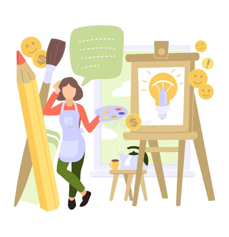 Creative people vector man woman character working together at office teamworking illustration set of teamwork ideas. Brainstorming team creating project design royalty free illustration