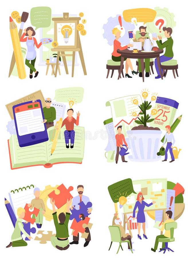 Creative people vector man woman character working together at office teamworking illustration set of teamwork ideas. Brainstorming team creating project design vector illustration