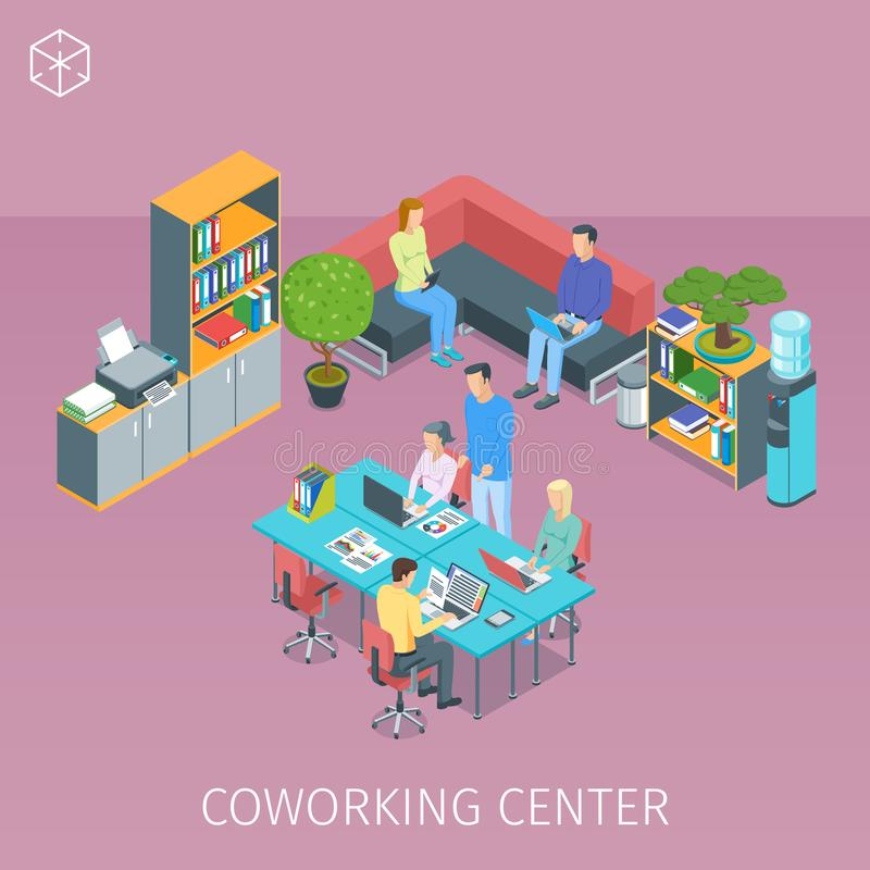 Creative people working in coworking centre. Isometric banner on theme creative people working in coworking center. Highly detailed illustration vector illustration