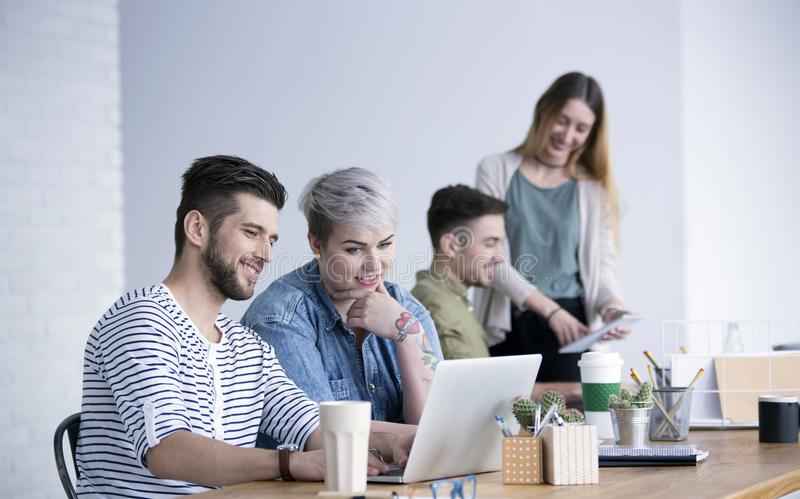 Creative people working on project stock images