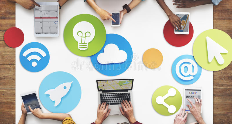 Creative People Working Social Media Icon Concept. Creative People Working Social Media Communication Connection stock photos