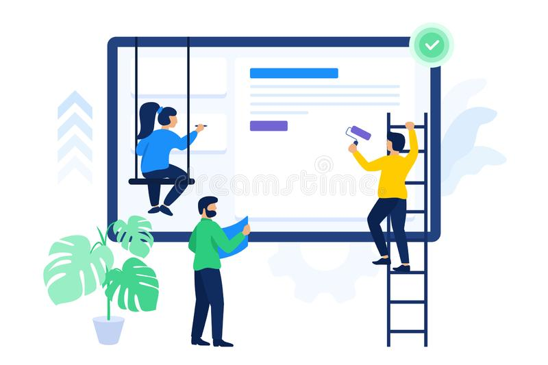 Creative people are working together on project stock illustration