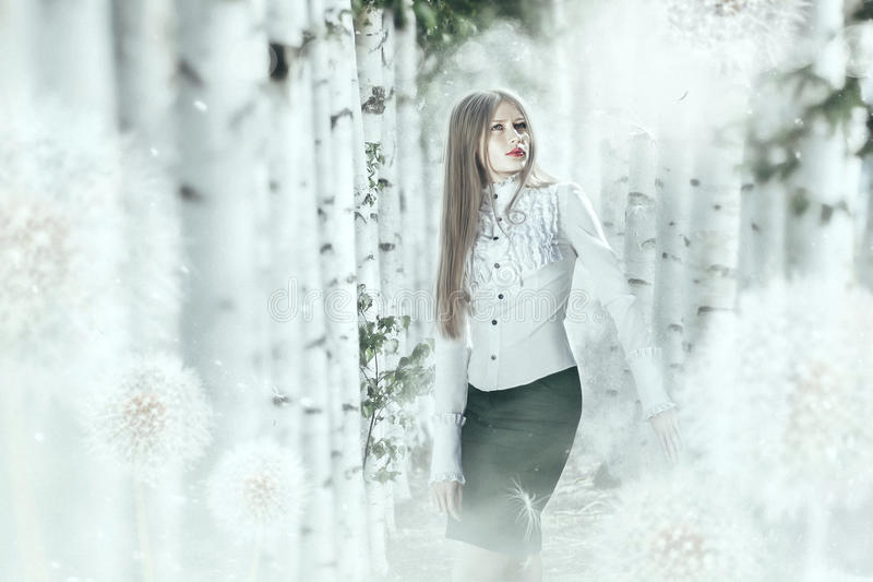Creative photo manipulation in bright colors with elegant girl i royalty free stock image