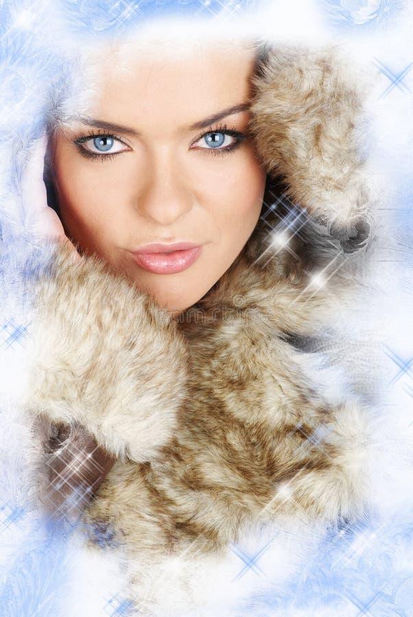 Creative photo of winter woman stock photo