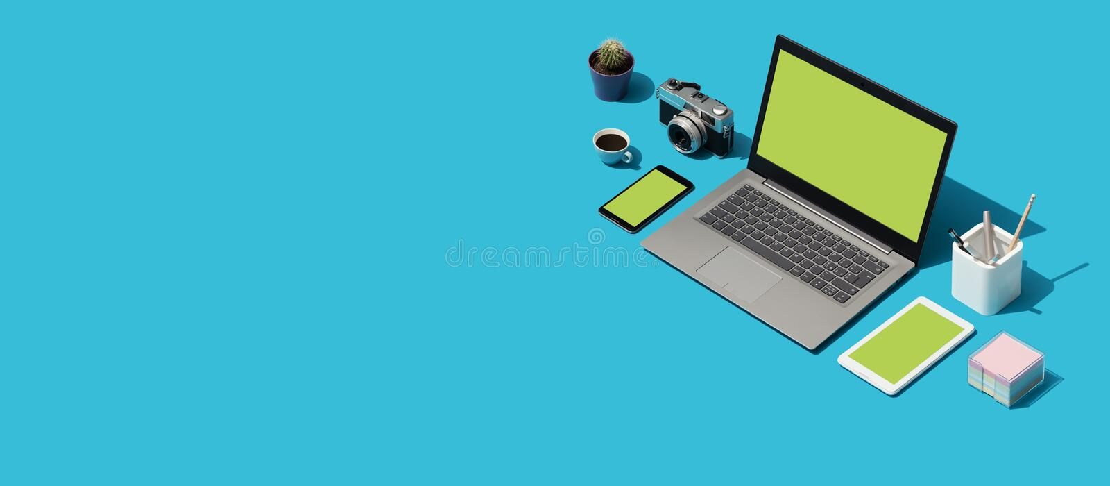 Creative photographer and designer desktop. With laptop and digital camera, isometric objects stock illustration
