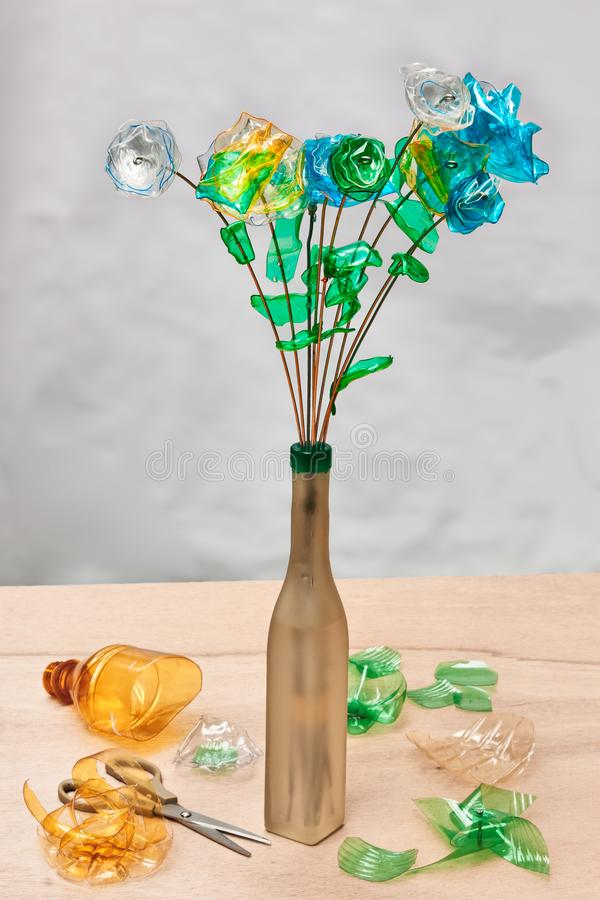 Creative plastic recycling royalty free stock photo