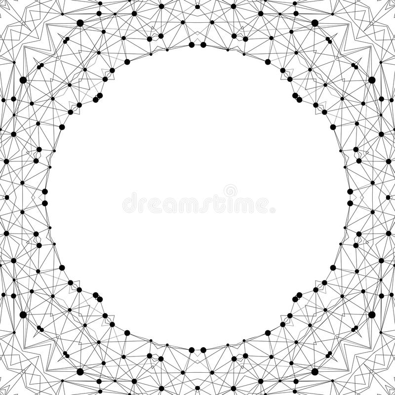 Creative polygonal background. Modern frame in geometric style made of connected dots and lines. vector illustration
