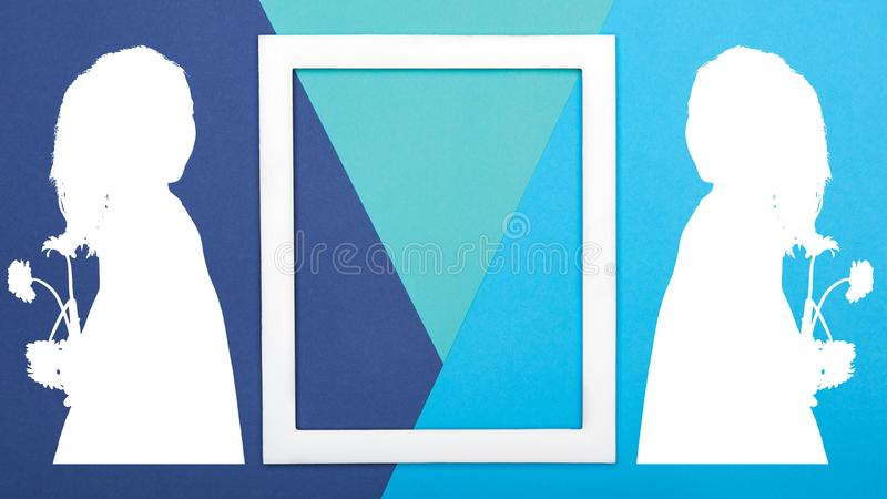 Creative pop art Father`s Day background. Happy Father`s day or Birthday Turquoise and Blue Background. Minimalism geometric patterns and lines greeting card royalty free stock photography