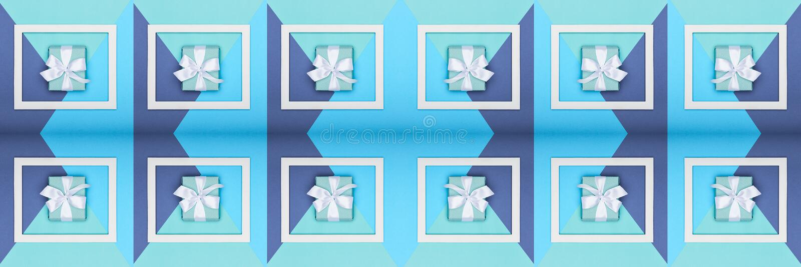 Creative pop art Father`s Day web banner. Happy Father`s day or Birthday Turquoise and Blue Background. Minimalism greeting card. stock photos