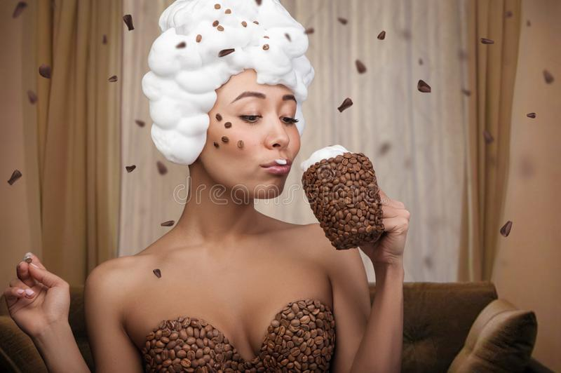 Creative portrait of beautiful funny woman royalty free stock images