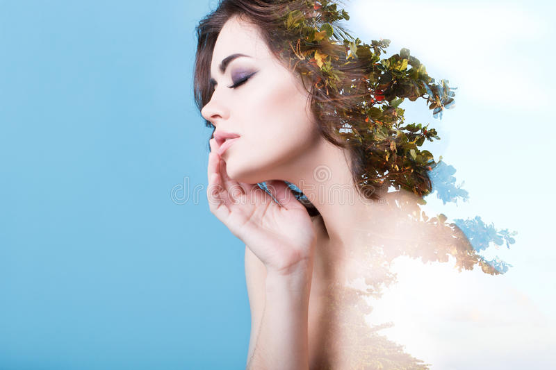 Creative portrait double exposure effect. stock photos