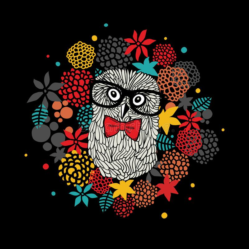 Creative portrait of hipster owl in glasses. Vector illustration with floral elements. royalty free illustration