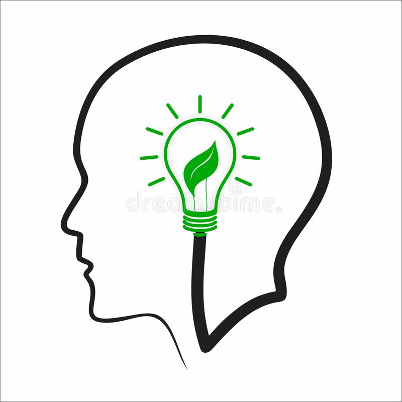 Creative positive thinking concept. Green leaf and bulb in head royalty free illustration