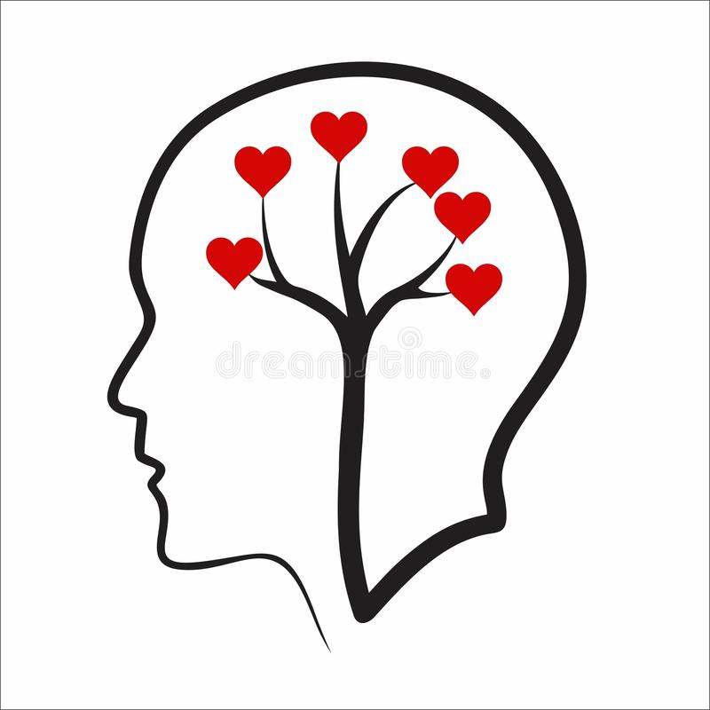 Creative positive thinking concept. Red heart and tree in head royalty free illustration