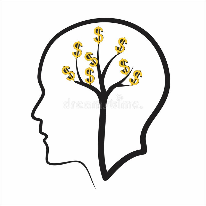 Creative positive thinking concept. Dollar and tree in head vector illustration