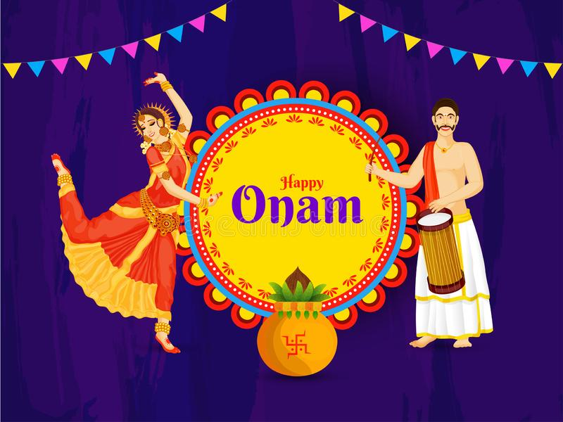Creative poster or banner design with illustration of woman classical dance pose and drummer man for Happy Onam. vector illustration