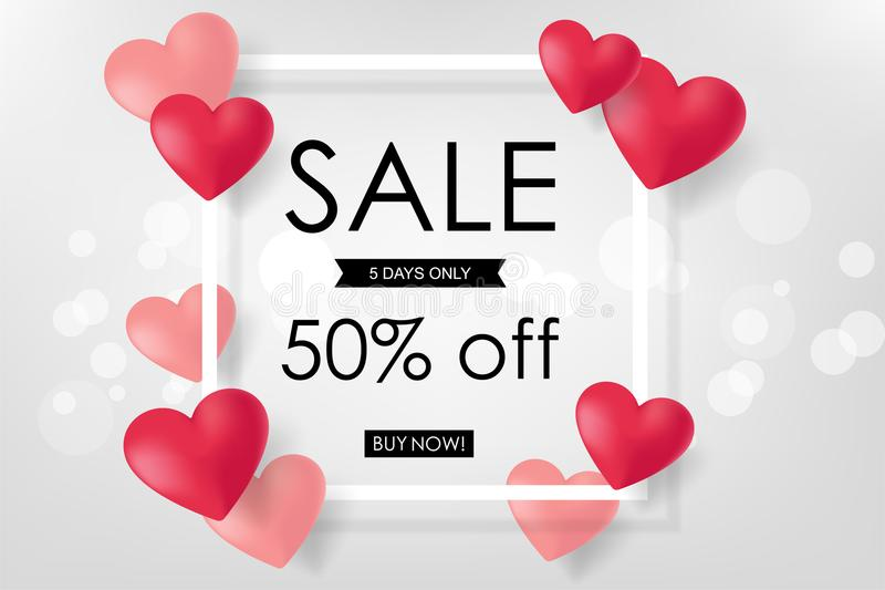 Creative Poster, Banner or Flyer design of Sale. Happy Valentine vector illustration