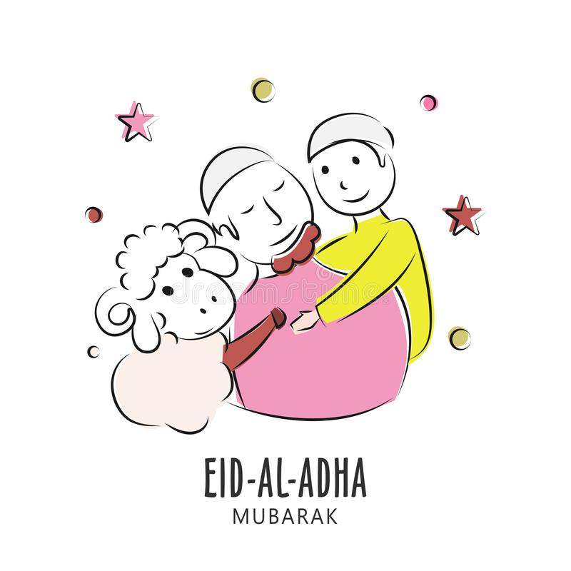 Creative poster or card design with illustration of hand drawn muslim man with little boy and sheep. royalty free illustration