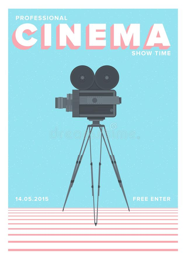 Creative poster, flyer or invitation template for professional cinema show time or motion picture premiere with old film. Camera standing on tripod. Colorful stock illustration