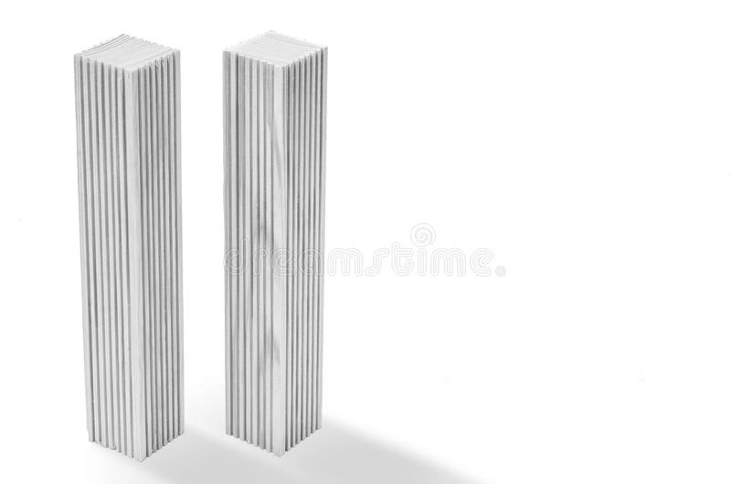 Creative poster in honor of September 9, skyscrapers of the World Trade Center carved wood breadboard models. Memory of the attack royalty free stock images