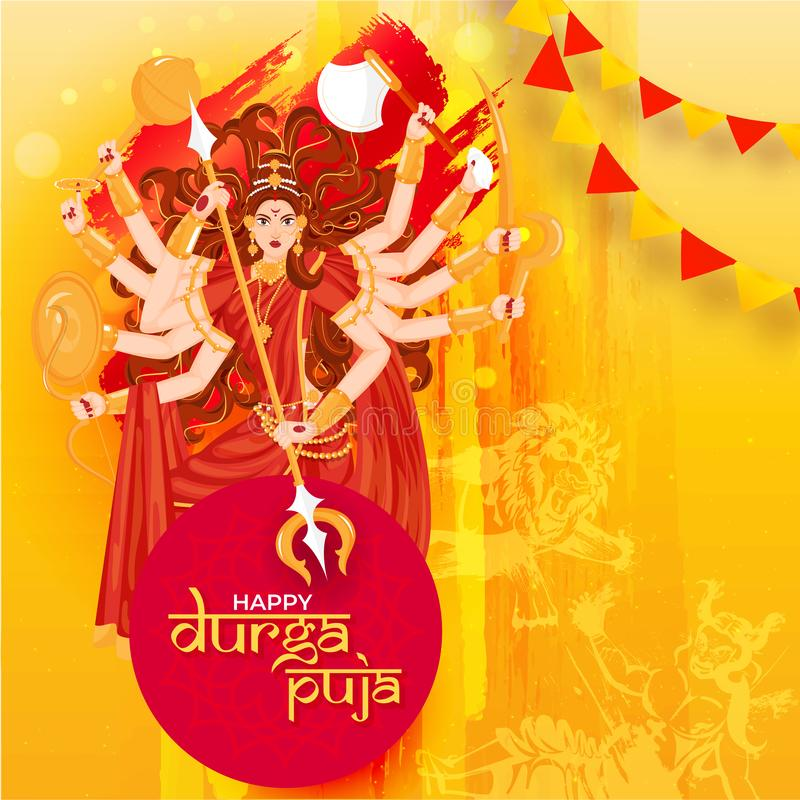 Creative poster or template design with illustration of Hindu Mythological Goddess Durga. vector illustration
