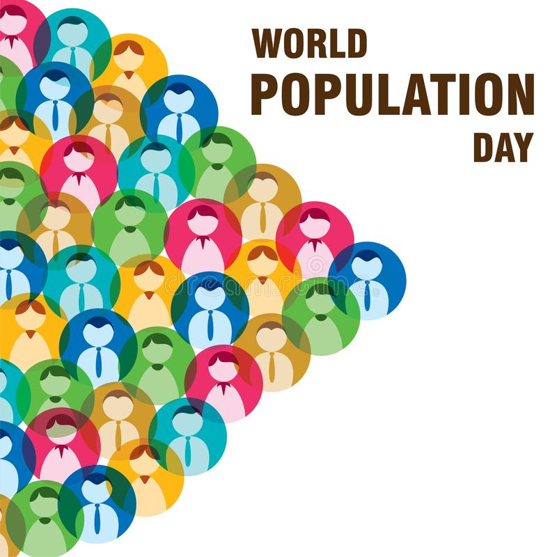 World population day poster design stock illustration
