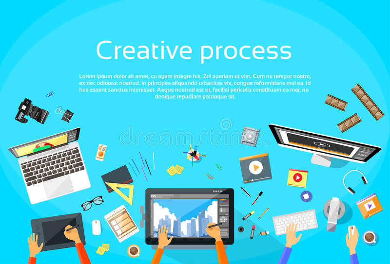 Creative Process Digital Designer Team Flat Vector. Illustration royalty free illustration