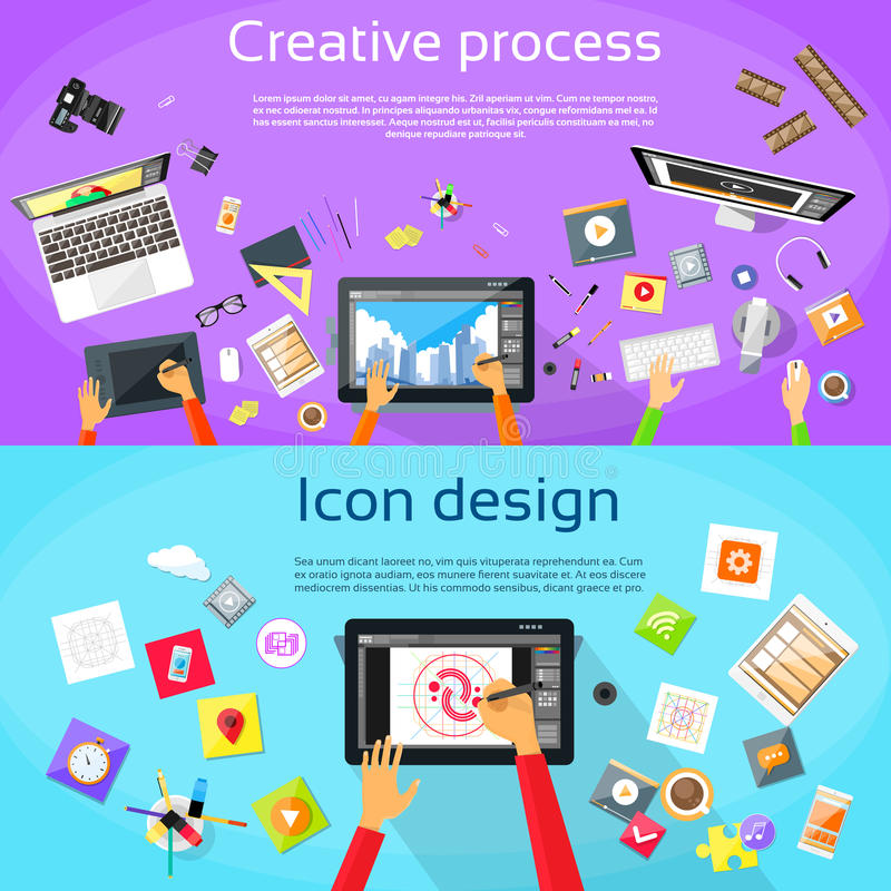 Creative Process Digital Logo Icon Designer. Professional Tablet Drawing Flat Vector Illustration vector illustration