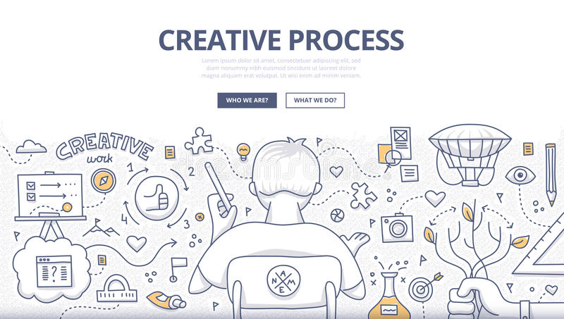 Creative Process Doodle Design vector illustration
