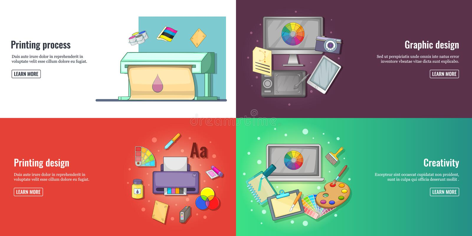 Creative process, graphic design or web design development banners set and printed materials vector illustration stock illustration
