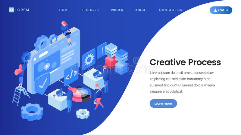 Creative process landing page isometric template. SEO, web design studio workers brainstorming, searching ideas 3D vector website homepage. App software royalty free illustration