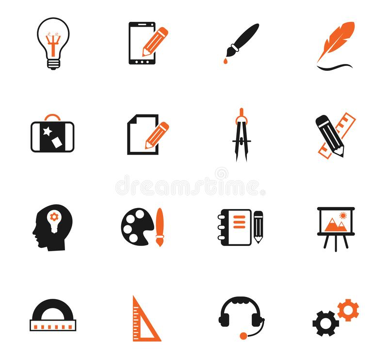 Creative process color icon set royalty free illustration