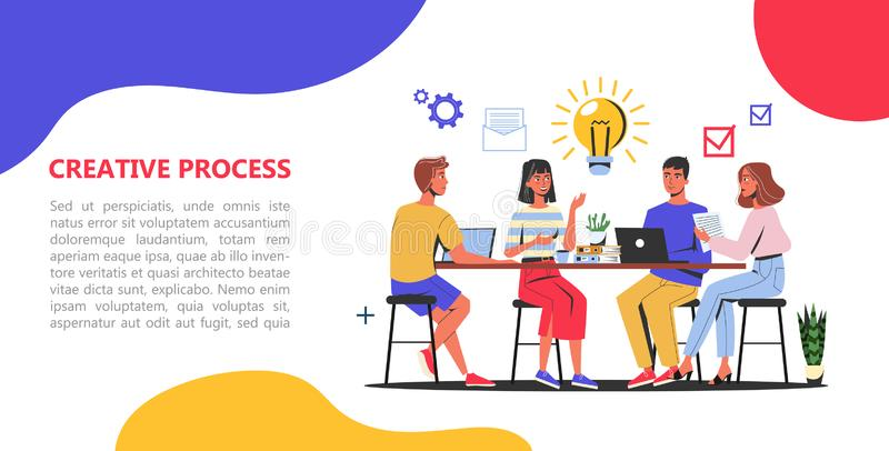 Creative process web banner concept. Business team royalty free illustration