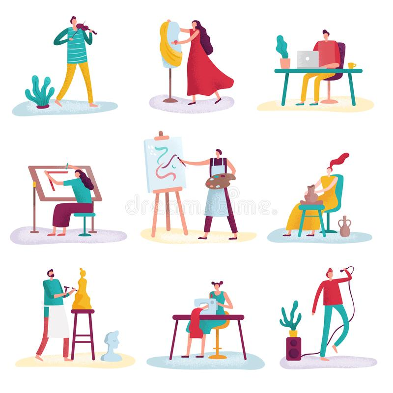 Creative profession artist. Artistic people art sculptor, artisan painter and fashion designer. Creators artists. Artist with painting canvas or sculptor royalty free illustration