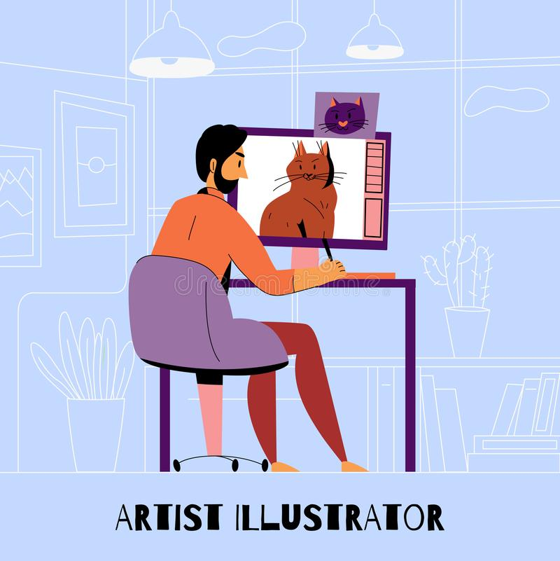 Creative Profession Artist Designer Illustrator Composition. With man draws a cat on the computer vector illustration stock illustration