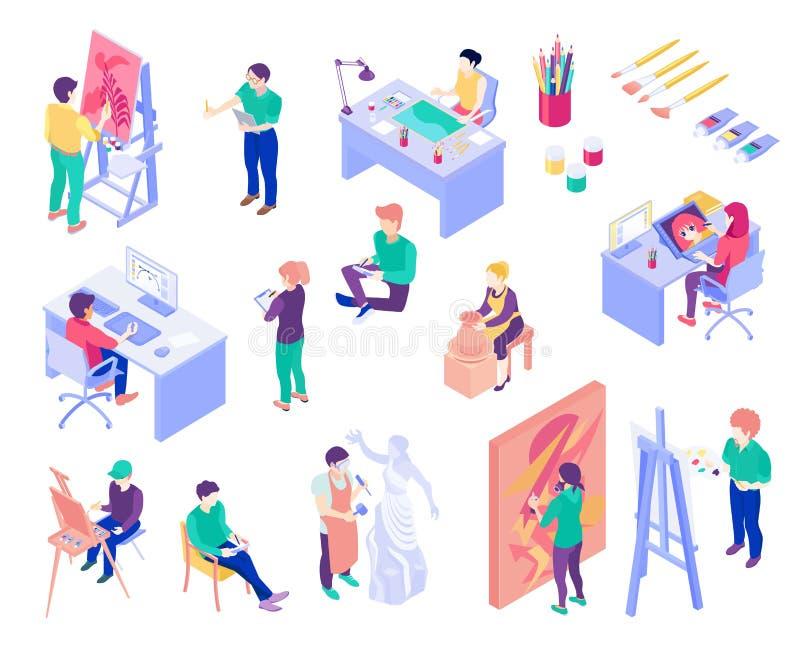 Creative Professions Isometric People Set vector illustration