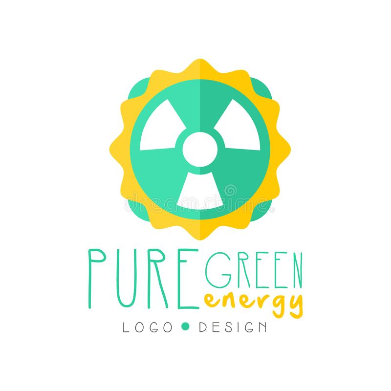 Creative pure energy logo original design template with nuclear symbol. Eco-friendly electricity production industry royalty free illustration