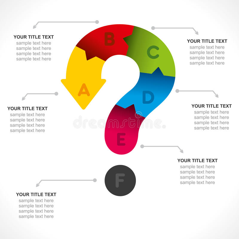 Creative question mark info-graphic. Creative question mark business info-graphics design vector royalty free illustration
