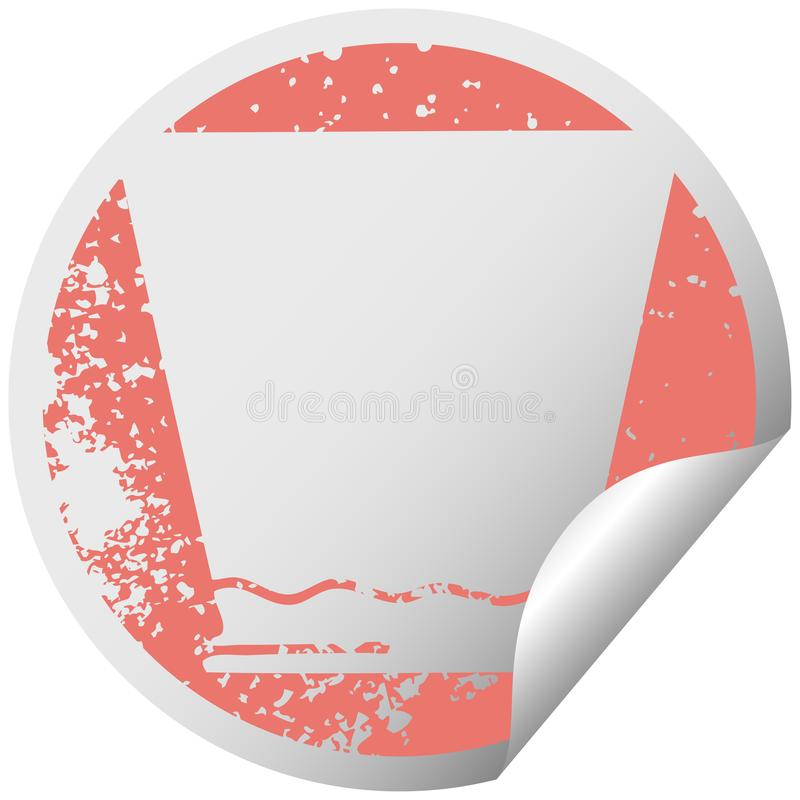 A creative quirky distressed circular peeling sticker symbol whisky tumbler. An original creative quirky distressed circular peeling sticker symbol whisky vector illustration