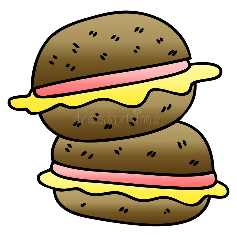 A creative quirky gradient shaded cartoon sandwich. An original creative quirky gradient shaded cartoon sandwich stock illustration