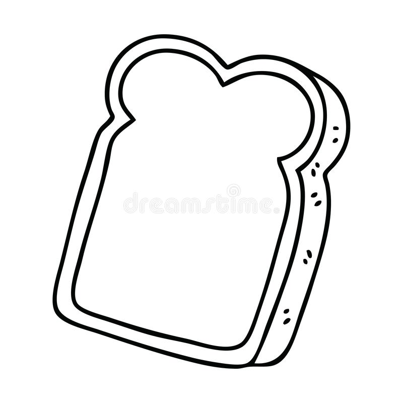 A creative quirky line drawing cartoon slice of bread. An original creative quirky line drawing cartoon slice of bread vector illustration